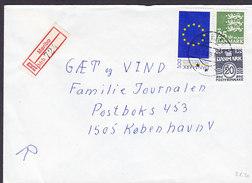 Denmark Registered Einschreiben Recommandé Label & Brotype IId MARIBO 1989 Cover Brief Europa Parliament Stamp - Briefe U. Dokumente
