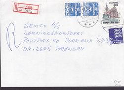 Denmark Registered Einschreiben Recommandé Label & Brotype IId KØGE 1988 Cover Brief - Briefe U. Dokumente