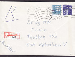 Denmark Registered Einschreiben Recommandé Label ENGESVANG TMS Cds. HERNING 1988 Cover Brief - Briefe U. Dokumente