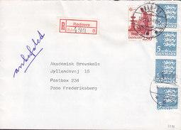 Denmark Registered Einschreiben Recommandé Label & Brotype IId RØDOVRE 1987 Cover Brief Europa CEPT & 3-Stripe - Briefe U. Dokumente