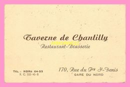 CARTE DE VISITE  Taverne De Chantilly  GARE DU NORD - Visiting Cards