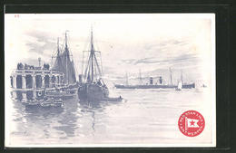 CPA Illustrateur Henri Cassiers: Red Star Line - Antwerpen, Passagierschiff Et Pêcheurboote - Paquebots