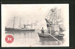 CPA Illustrateur Henri Cassiers: Red Star Line - Antwerpen, Ozeandampfer Et Segelschiff - Paquebots