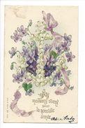 18925-  Mes Meilleurs Voeux Pour La Nouvelle Année Bouquet De Violettes M.S.i.B. Série 285 - Nouvel An