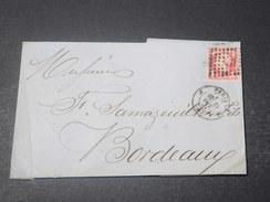 FRANCE - Lettre De Paris Pour Bordeaux En 1861 , Affranchissement Napoléon 80c , Oblitération Paris J - L 10987 - Storia Postale