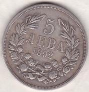 Bulgaria . 5 Leva 1892 . Ferdinand I . Argent .KM# 15 - Bulgarie