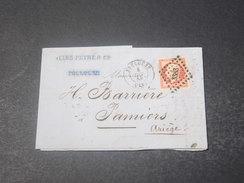 FRANCE - Lettre De Toulouse Pour Pamiers En 1856 , Affranchissement Napoléon 80c - L 10989 - Storia Postale