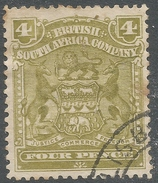 British South Africa Company (Rhodesia). 1898-1908 Arms. 4d Used. SG 82 - Southern Rhodesia (...-1964)