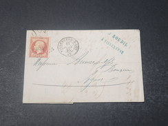 FRANCE - Lettre De Villeneuve Sur Lot Pour Agen En 1855 , Affranchissement Napoléon 80c - L 10992 - Storia Postale