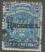British South Africa Company (Rhodesia). 1909-12 Arms O/ Rhodesia. 2½d Used. SG 103 - Southern Rhodesia (...-1964)
