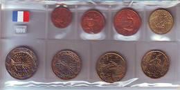 France 1999 Série Des 8 Pièces Euro Provenenat De Rouleaux - Francia