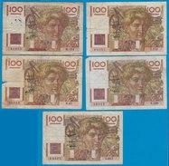 Frankreich - France 5 X 100 Francs 1946, 1946, 1948, 1949, 1952 Pick 128 - Francia