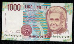 Italia - Italy 1990 Banconota Non Circolata Da 1000L Montessori  Serial EA..B Uncirculated - [ 2] 1946-… : République