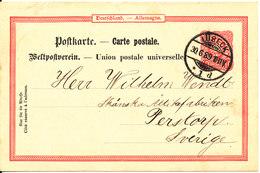 Germany Reich Postcard Postal Stationery Lübeck 30-6-1889 Sent To Sweden - Deutschland
