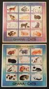 Ghana 1994 GHANA CATS 2 Sheets Of 12 Stamps Each - Ghana (1957-...)