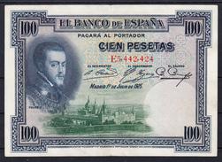 ESPAÑA 1925. 100 PESETAS FELIPE II .SERIE E  EBC   B1154 - [ 1] …-1931 : First Banknotes (Banco De España)
