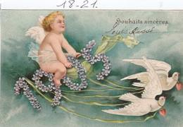 Carte Gauffrée : 1905 Souhaits Sincères ( Ange Et Angelot ) - Nouvel An