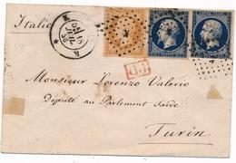 """Lettre N°13,14x2 Paris """"K"""" Pour Turin 1856 - Marcophilie (Lettres)"""