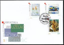 Croatia Zagreb 2002 / Croatian Modern Art / Uzelac, Hegedusic, Motika / Flowers, Rowing / FDC - Kroatien