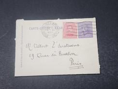 BELGIQUE - Entier Postal + Complément De Bruxelles Pour Paris En 1921 - L 11033 - Cartas-Letras
