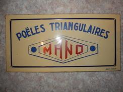 Plaque émaillée Poêles Triangulaires MANO (Japy Anzin) - Advertising (Porcelain) Signs