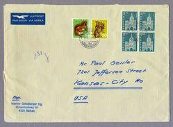 Switzerland Suisse Helvetia 1967 Air Mail Luftpost Cover Riehen To Kansas City USA - Schweiz