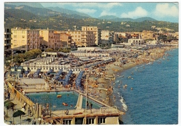ALBISSOLA MARINA - PANORAMA, PISCINA E SPIAGGIA - SAVONA - 1974 - Savona