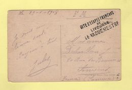 Armee D Orient - Gite D Etapes Francais De Livourne - 1918 - Marcofilia (sobres)