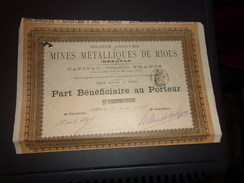 MINES METALLIQUES DE RIOLS (hérault) 1898 - Shareholdings