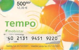 CARTE+-PREPAYEE-MOBISTAR-GSM-PAPIER-Pt 500BEF/12,39€-TEMPO--12/2001-PAPIER Plastifie-BE - [2] Prepaid & Refill Cards