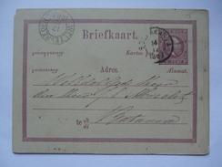 NETHERLANDS INDIES 1883 Postal Stationary Card - Weltevereden Postmark - `Ini Papan Boeat Toelis Soerat` - Indie Olandesi