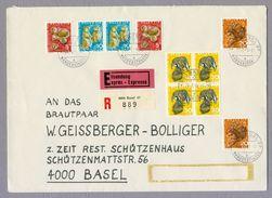 Switzerland Suisse Helvetia 1966 Pro Juventute Wildtiere Wild Animals Igel Alpenmurmel Rothirsch Dachse Registered Cover - Lettres & Documents