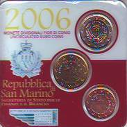 Coin Card 2006 BU Set 5 - 50 Cent + 1 Euro Vide Saint St Marin San Marino святой матрос święty żeglarz Püha Mataplats - San Marino