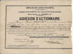 CAISSE ESCOMPTE DE TARASCON . 10 ACTION ADHESION + 2 REMISES INTERETS .1856 - Banque & Assurance