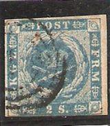 1854-64 Yvert 3 Obl  2 S Bleu - 1851-63 (Frederik VII)