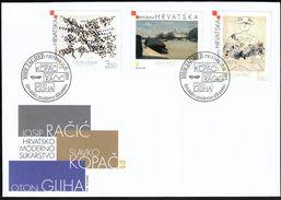 Croatia Zagreb 2003 / Croatian Modern Art / Racic, Kopac, Gliha / Paintings / FDC - Kroatien