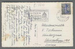 C2870 FRANCE Postal History 1962 CACHET VII ARRONDISSEMENT DE PARIS (m) - France