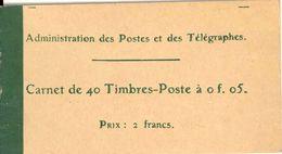 FRANCE - BOOKLET/CARNET - 1910 Cérès 9, Yvert 137-c3. 40x5c Green - Freimarke