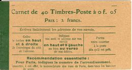 FRANCE - BOOKLET/CARNET - 1920 Cérès 15, Yvert 137-c9. 40x5c Green - Carnets