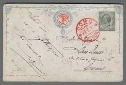 C2889 Storia Postale 1917 BOLLO ROSSO COMO CENSURA ILLUSTRAZIONE R. VALORI (m) - Marcophilie