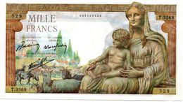 """1000 F """"DEESSE DEMETER""""  - 28/1/1943 (SPL ) - 1871-1952 Anciens Francs Circulés Au XXème"""