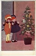 BUON NATALE - BAMBINE CON ALBERO DI NATALE - Disegno A. BERTIGLIA - 1917 - Vedi Retro - Formato Piccolo - Bertiglia, A.