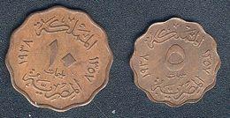 Ägypten, 5 + 10 Milliemes 1938, Qualität - Egypt