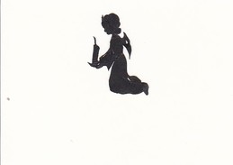 Scherenschnitt Eines Engels Mit Kerze - 4*3cm - Ca. 1950 (32407) - Loisirs Créatifs