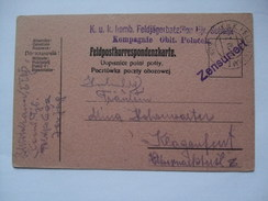 AUSTRIA - 1916 Feldpostkarte - K.u.K. Komb. Feldjagerbataillon Schenk - Kompagnie Oblt. Polacek - + Zensuriert Cachet - Covers & Documents