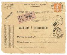 Recouvrement Devant D'enveloppe N°1488 Maison Alfort TAD 07/03/1919 N° 141 30 C Orange Semeuse TTB - Marcophilie (Lettres)