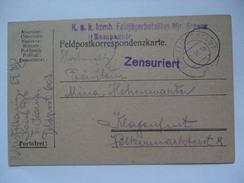 AUSTRIA - 1915 Feldpostkarte - K.u.K. Komb. Feldjagerbataillon Schenk - Feldpostamt 603 - Mit Zensuriert Cachet - Covers & Documents