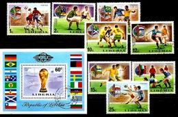 Liberia 1974 World Cup Soccer , Football Flags FULL SET + S/S CTO  Used Set - Coppa Del Mondo