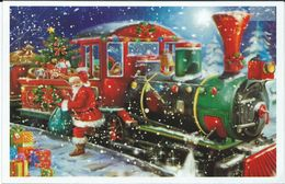 Christmas > Santa Claus And Train.unused Postcard - Kerstman