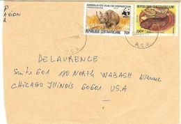 WWF  CENTRAL AFRICA Envelope,  Rhinoceros, Fishes  /  CENTRAFRICAINE  Enveloppe, Rhinocéros, Poissons  1984 - Rhinozerosse